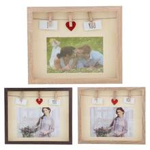 Retro Photo Frame DIY Decorative Picture Poster Frame Wood with Clips Home Desktop Wedding Decoration Vintage Photo Frame Gift(China)