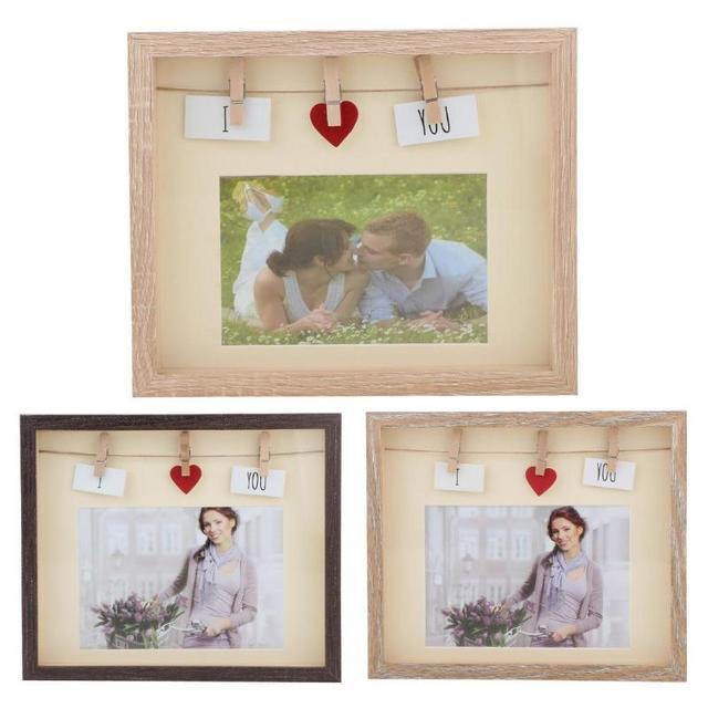 Retro Photo Frame DIY Decorative Picture Poster Frame Wood with Clips Home Desktop Wedding Decoration Vintage Photo Frame Gift