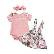 цена Canis Toddler Baby Girl Summer Pink Tops Romper Floral Skirt Outfits Set Clothes онлайн в 2017 году