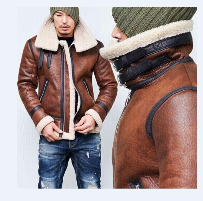 Nouveau mode hommes hiver hauts à manches longues fourrure ceinture Faux cuir veste col montant Shearling manteau laine doublure Bomber veste hommes DB028