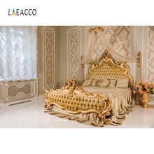 Laeacco Royal Headboard Bedroom Boudoir Curtain Photography Backgrounds Customized Photographic Backdrops For Photo Studio