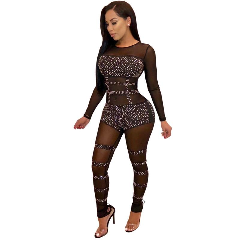 MUXU fashion Diamonds black bodysuit rompers womens ...