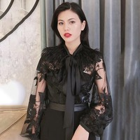 [MENKAY] Patchwork Feathers Women's Shirts Blouse Lace Up Lantern Sleeve Perspective Print Pullover Tops Female 2018 Autumn