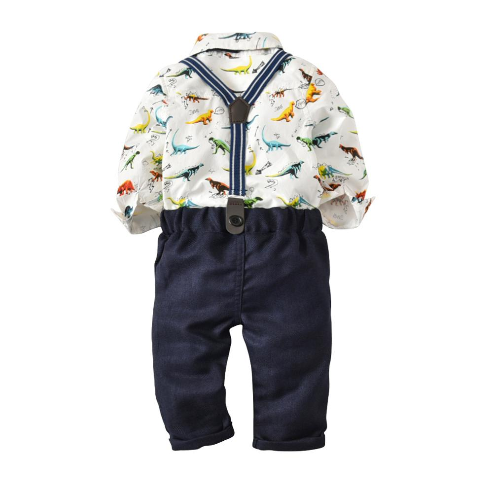 VTOM Baby Boys Sets Baby Long sleeved Rompers Tops Suspenders Pants 2PCS Infant Kids Formal Sets Baby Clothes XN78 in Clothing Sets from Mother Kids
