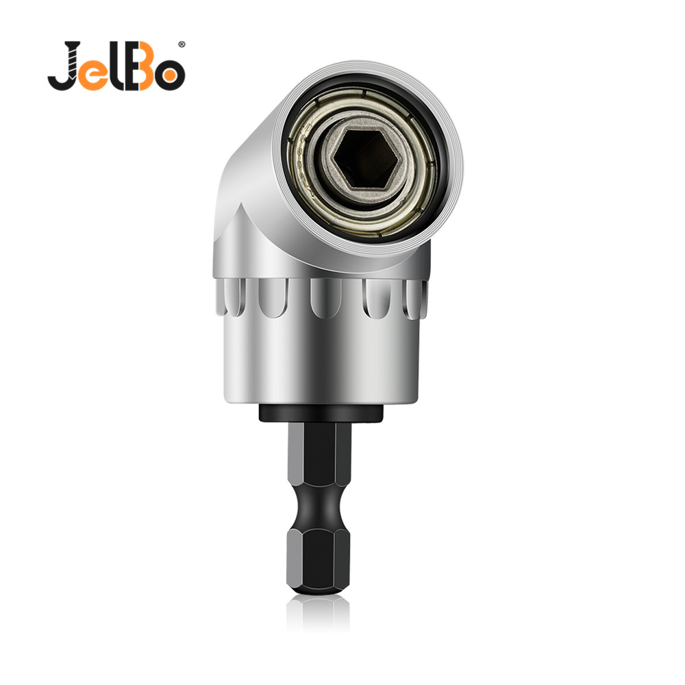 JelBo Black/Silver 105 Degree Angle Extension Right Driver Magnetic 1/4 Inch Hex Drill Bit Socket Screwdriver Holder