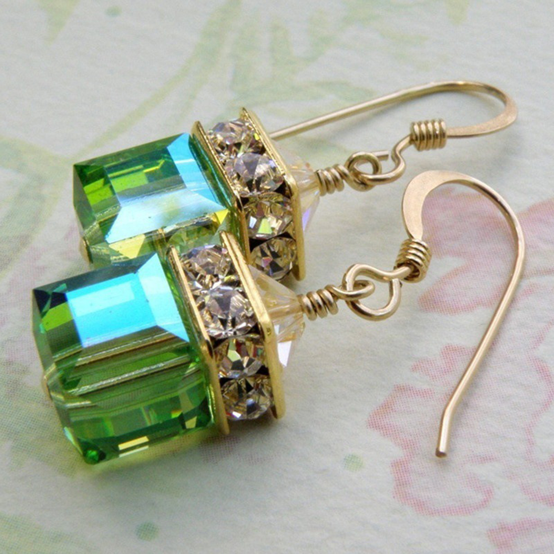 Vintage Green Zircon Crystal Square Big Stone Women Earrings Fashion Jewelry Christmas Gift