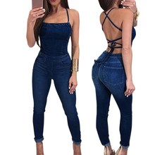 Women Sexy Sleeveless Strap Spaghetti Denim Jumpsuits 2019 Summer Solid Casual Rompers Pencil Bodycon Overalls