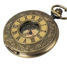 1Pcs Unisex Vintage Hollow Carved Roman Numerals Case Mechanical Pocket Watch Gift fullmetal alchemist Dragon watch man mechanical pocket watch shield shape cover retro vintage classic silver ipg plating copper brass case good quality