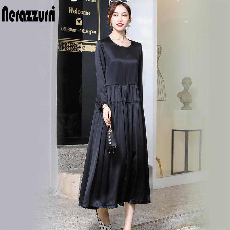 Nerazzurri real heavy silk dress women high quality black pleated dress long summer dress 2019 plus