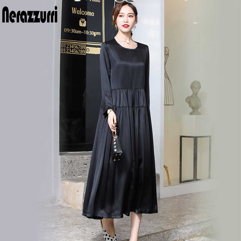 Nerazzurri real heavy silk dress women high quality black pleated dress long summer dress 2019 plus size dress 4xl 5xl 6xl 7xl