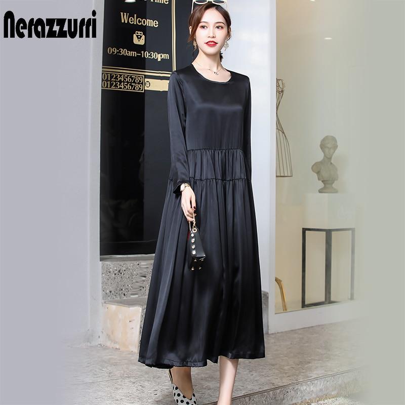 Nerazzurri réel lourd soie robe femmes de haute qualité noir robe plissée longue été robe 2019 robe de grande taille 4xl 5xl 6xl 7xl