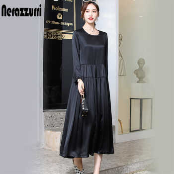 Nerazzurri real heavy silk dress women high quality black pleated dress long summer dress 2019 plus size dress 4xl 5xl 6xl 7xl - DISCOUNT ITEM  40% OFF All Category