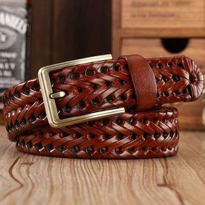 Image 5 - Men Genuine Leather Belt Pin Buckle Braided Belts For Men Quality Luxury Designer Handwoven Fashion Belts For Jeans