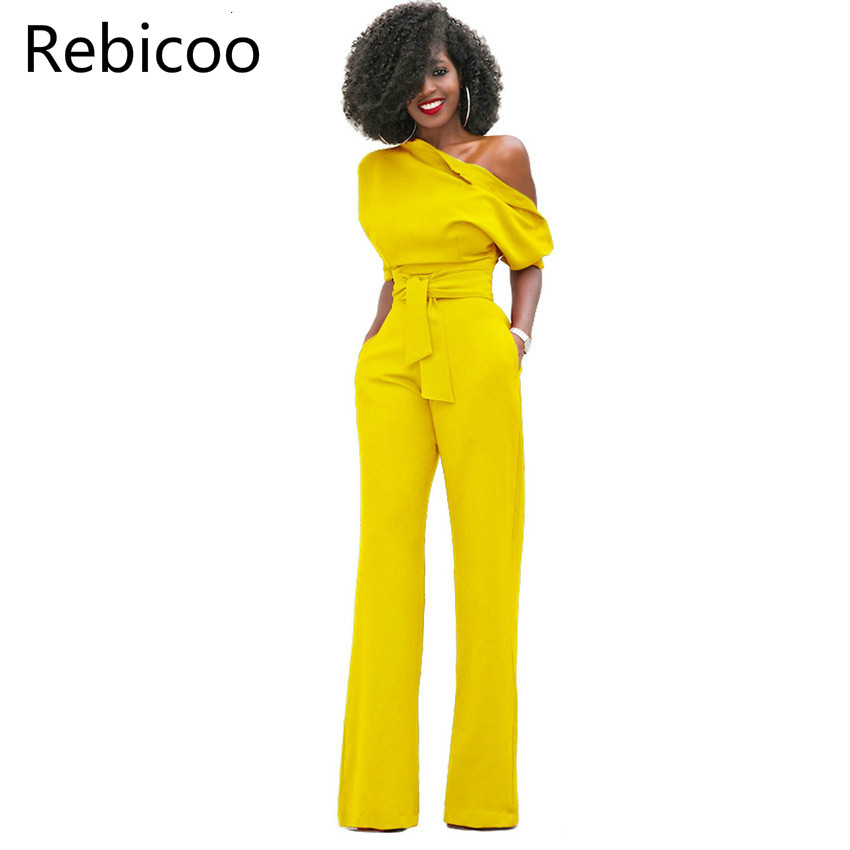 New Fashion Off The Shoulder Elegant Jumpsuits Women Plus Size Rompers Womens Jumpsuits Short Sleeve Female Overalls