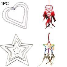 Металлический «Ловец снов» сердце и обруч со звездочками кольцо для DIY ручной работы плетеный ремесел инструмент-ловушка Материал аксессуары