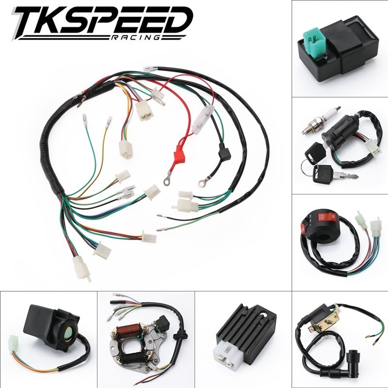 Humor Engine Wire Wiring Harness Loom 50cc 110cc 125cc Pit Quad Dirt Bike Atv Buggy Automobiles & Motorcycles