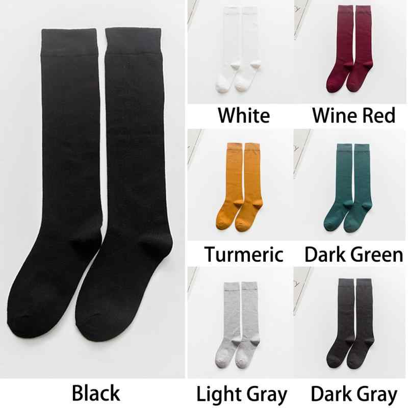 1 paar frauen Socken Herbst Winter Mode Lange Socken Adrette Knie Socken Einfarbig Hohe Elastische