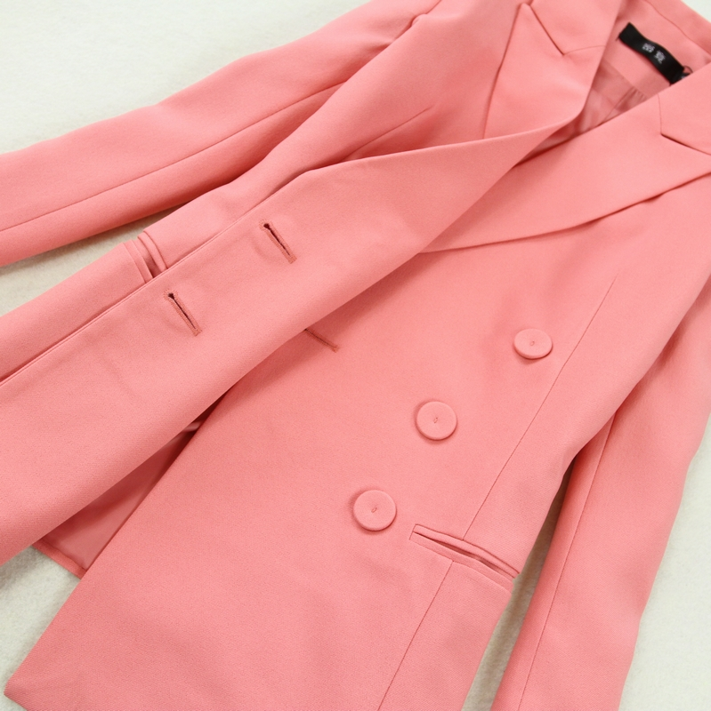 Set female spring new fashion long-sleeved double-breasted pink OL temperament professional suit + bag hip split skirt two-piece