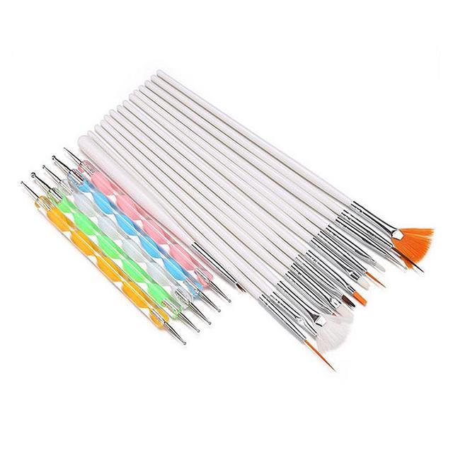 20 pièces brosses à ongles et Kit de stylo à point pour la peinture des ongles décoration Art des ongles brosse Gel vernis soins manucure outils