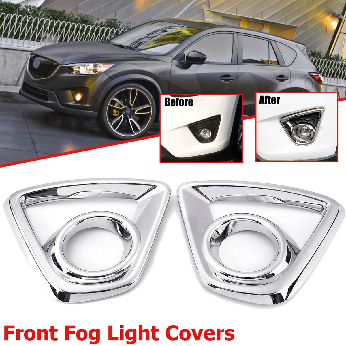 Image 4 - Bumper Fog light Chrome Garnish For Mazda Cx 5 Cx5  2013 2014 2015 2016 Car Rear Tail Lights Lamp Shade Frame Trim Cover Styling-in Chromium Styling from Automobiles & Motorcycles