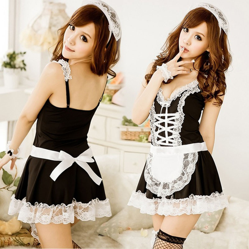 2019 Women Hot Sexy Lace Maid Servant Costume Set French Babydoll Dress Lingerie Black White Lolita Erotic Uniform Apron Cosplay