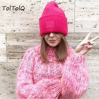 TolTolQ Sexy Women Backless Bandage Sweater Casual Long Sleeve Vintage Pullover Female 2018 Autumn Winter Jumpers Pink Sweater
