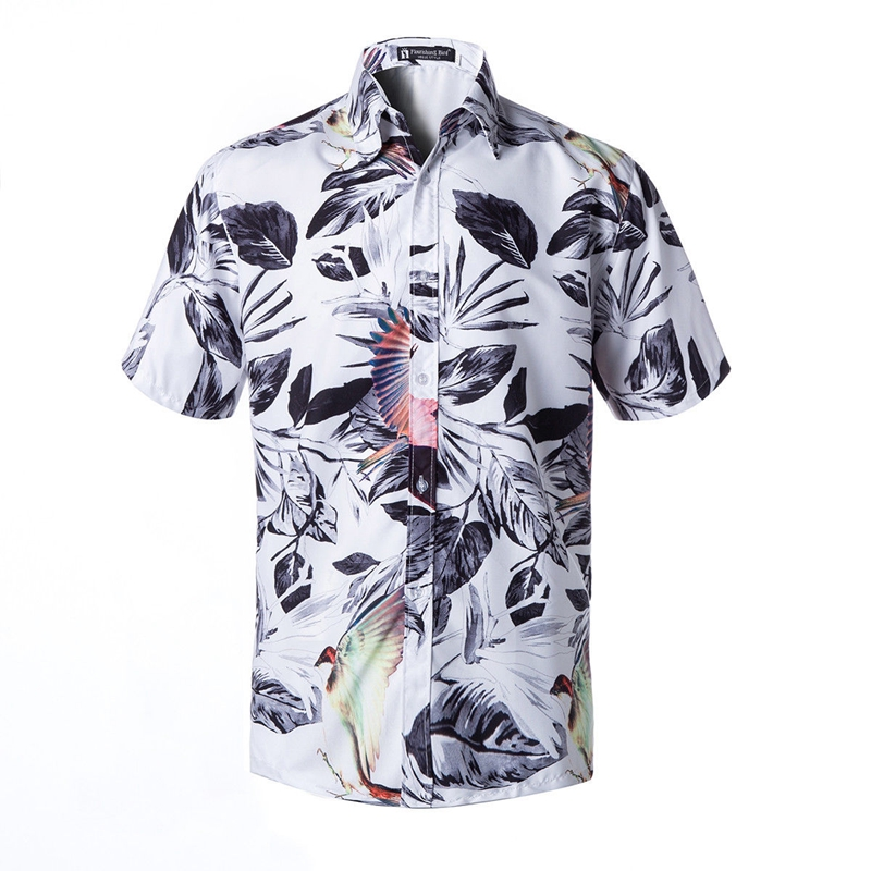 Casual Shirts Shirts Brave Mens Fashion Printed Blouse 2019 Summer New Trend Casual Holiday Short Sleeve Turn Down Collar Slim Beach Shirts Male Boy Top
