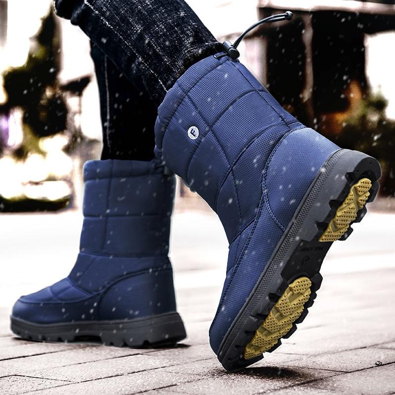 Осенне зимняя мужская теплая обувь с хлопковой подкладкой; Уличная обувь из хлопка для прогулок; высокие непромокаемые зимние ботинки