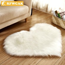 RFWECAK Love Heart Rugs Artificial Wool Warm Hairy Carpet For Living Room Bedroom Mat Seat Fluffy Soft Home Textile Tapete