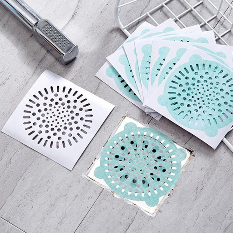 15pcs Paper Disposable Hair Filter Catcher Floor Drain Sticker Paster Strainer