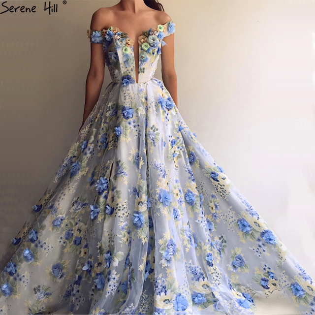 ac47a56a4cf41 Romantic Blue Flowers New Designer Evening Dresses 2019 Off Shoulder  Fashion Sexy Beach Fromal Evening GownsLA6660