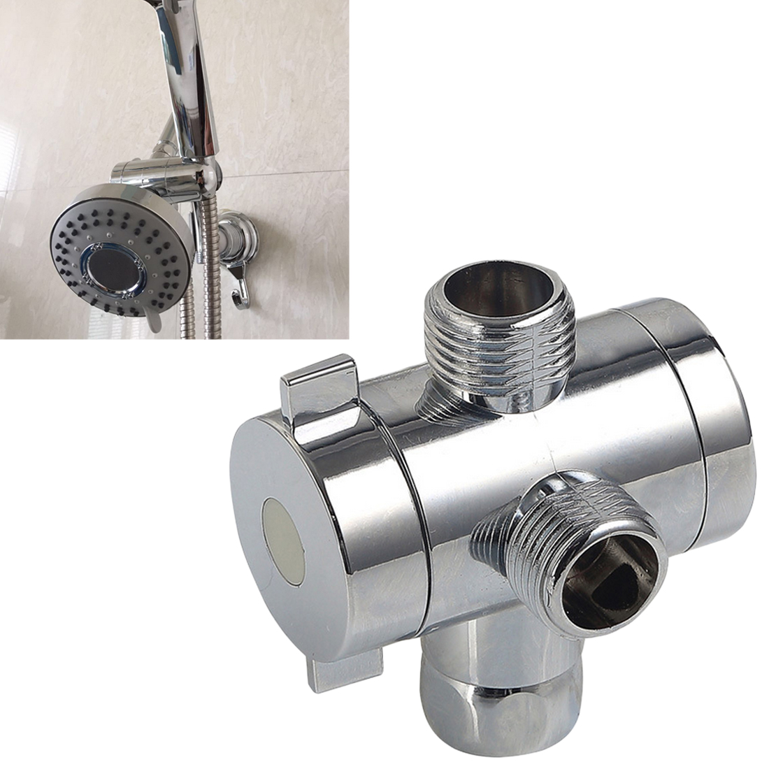Way T Adapter Diverter Valve Adjustable Shower Head Arm