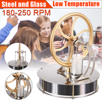Low Temperature Stirling Engine Motor Model Cool No Steam Heat Education Toy Science Experiment Kit