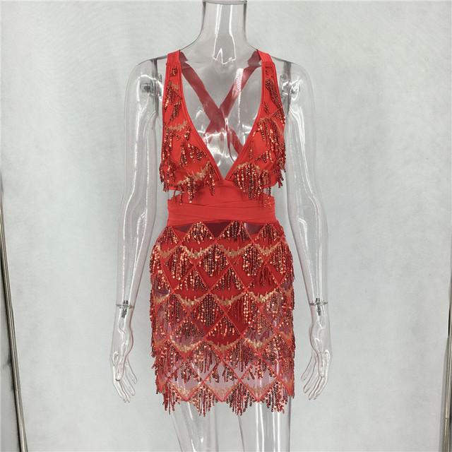 Sequins deep v open back bodycon mini dress