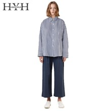HYH HAOYIHUI Autumn Fashion Girl Striped Loose Shirt Preppy Style Full  Long Sleeve Blue White Color Stripes Blouse