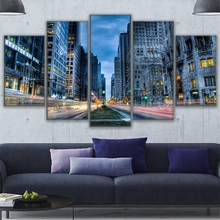 5 Pieces Canvas Printed Chicago Busy Streets Night View Paintings Home Decor For Living Room Wall Art Poster Picture Artwork