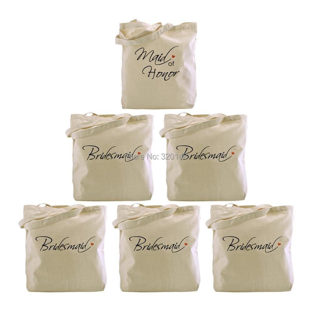 Sacs fourre-tout de demoiselle d'honneur pour mariage des femmes cadeaux de douche de mariée toile 100% coton sac de demoiselle d'honneur sac à bandoulière femmes