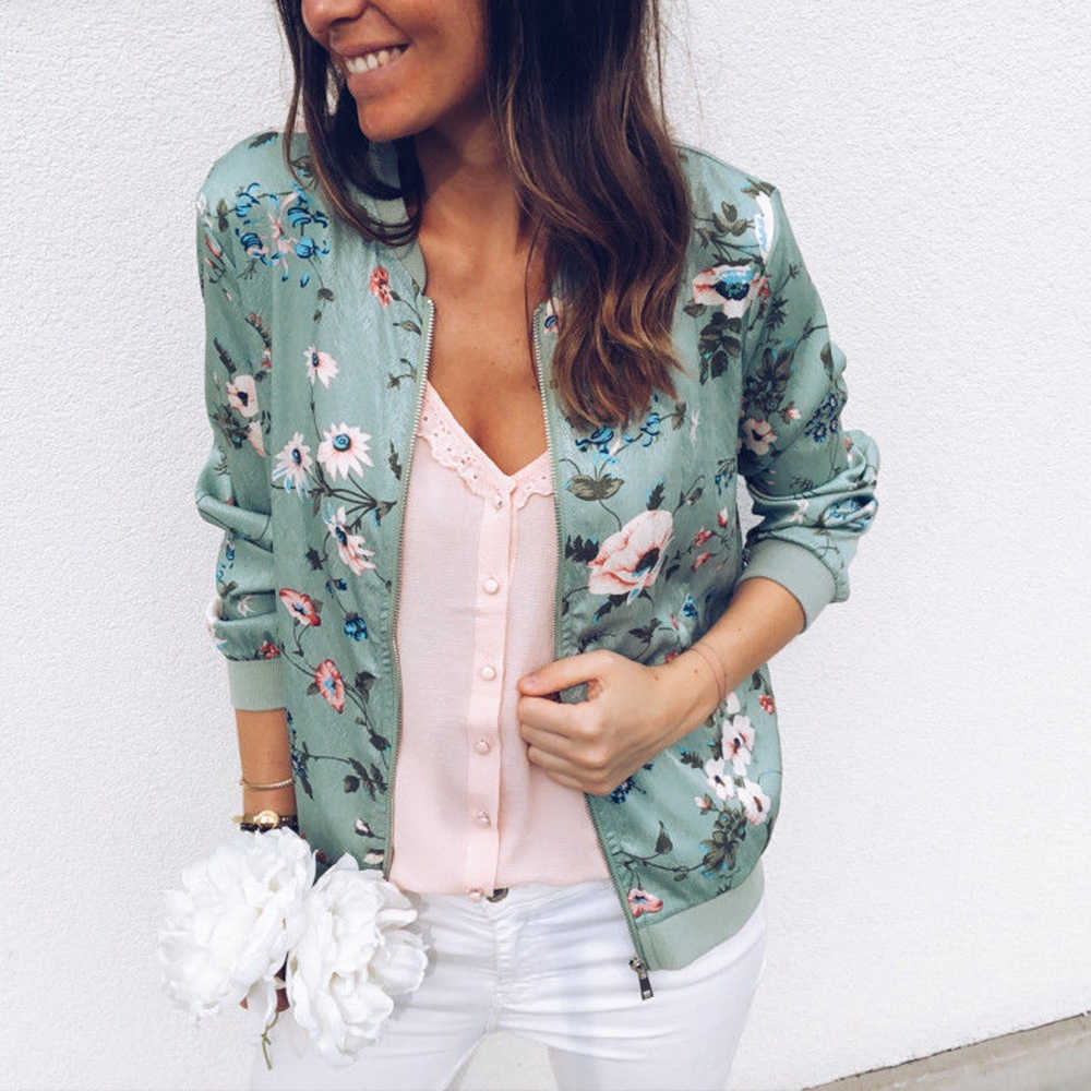 Casual Flower Printed Bomber Jacket Woman Zipper Short Female Spring Jackets Outwear Long Sleeve Women's Coats Plus Size 4XL 5XL