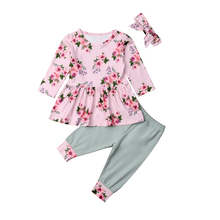 3d3015a13aa88 Toddler Infant Baby Girls Clothes Set Long Sleeve Floral Tunic Dress Tops  Leggings Pants with Headband