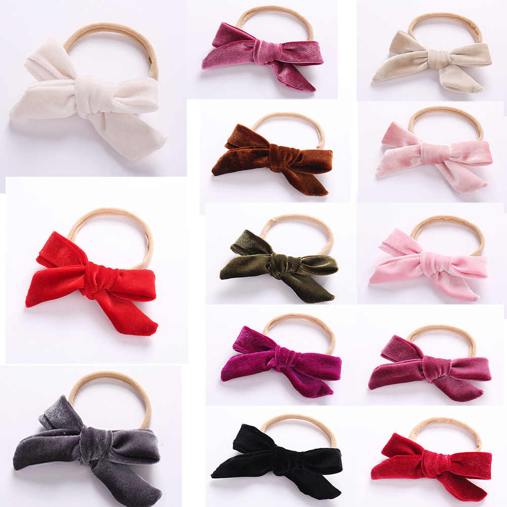 1PC Korean Lovely Kids Baby Bows Elastic Hair Bands Cute Soft Velvet Hair Ties For Girls Hair Accessories Headwear Free Shipping