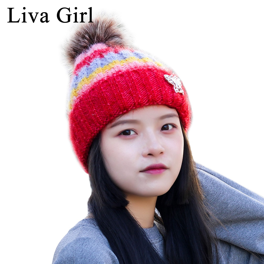 848b5cea7b02 Liva Girl Brand Winter Warm Thick Fleece Hat Pom Poms Cap For Women Fashion  Brand Striped
