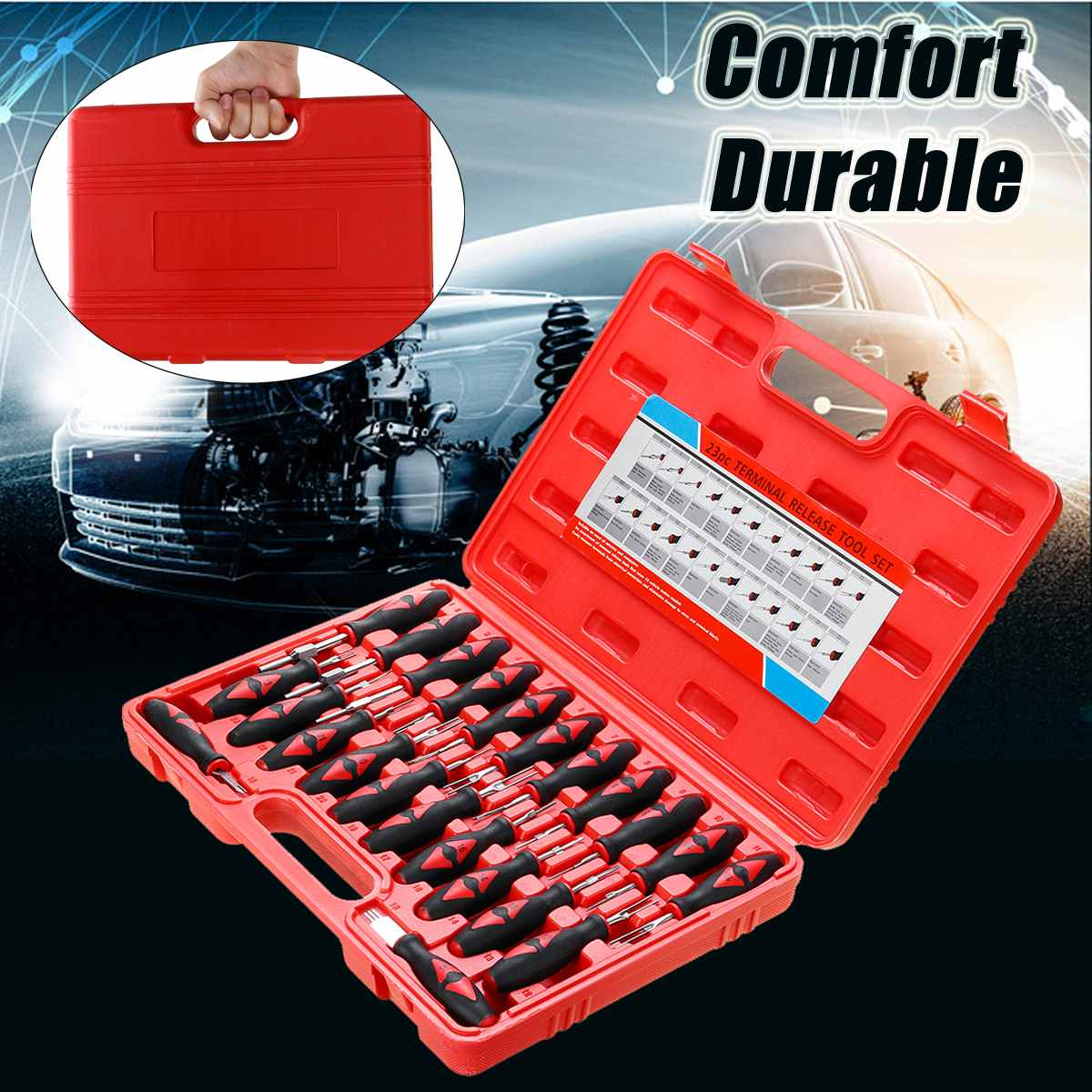 23PCS Universal Terminal Release Tools Set Harness Connector Remover Tool Package Hand Tool Kit with Plastic