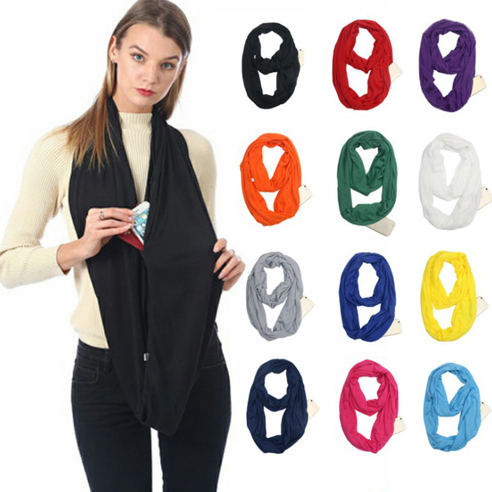 2018 New Arrivals Portable Women Scarf With Zipper Pocket Infinity Winter Scarf Soft Warm Convertible Travel Journey Scarves
