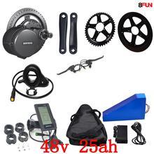 США ЕС нет налога 48 В в 25AH 1000 Вт треугольники Электрический велосипед батарея + В Вт 500 Вт 1000 750 Bafang mid drive комплект электродвигателей бесплатная сумка