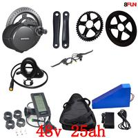 US EU No Tax 48V 25AH 1000W Triangle Electric Bike battery +48V 500W 750W 1000W Bafang mid drive electric motor kit +Free bag
