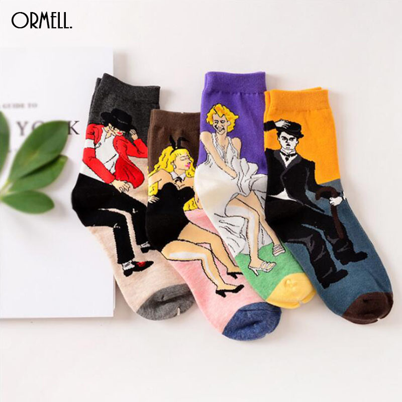 2019 Cartoon Fashion Women Men Socks Michael Jackson Chaplin Print Cotton Long Sock For Couple Clothing Accessories