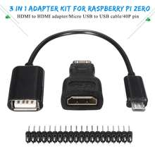 Audio Video Hdmi Cables Male to Male Female Adapter+Micro USB to USB Cable Wire+Male Header GPIO Pins for Raspberry Pi Zero Kit(China)