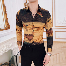 New Pattern Black Gold Print Shirt Baroque Slim Fit Party Club Shirt Men Camisa Homem Man Shirt Camisa Masculina 2019 Clothes
