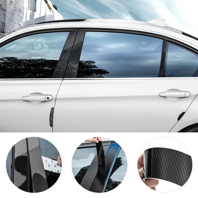 For BMW 3 5 Series E90 E60 F30 F10 X5 X6 E70 E71 F15 F16 F07 X3 F25 E46 X1 E84 Car Carbon Fiber Window B pillar Molding Cover