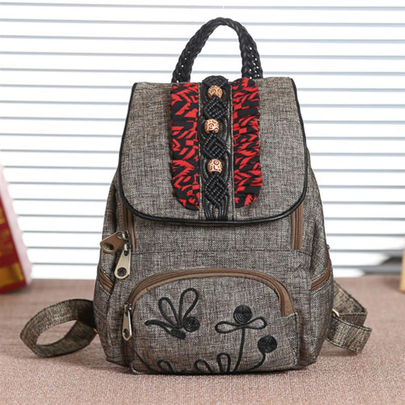 National Style Patchwork Flowers Embroidery School Backpack For Student Girls Retro Female Backpack Travel Mochilas Feminina